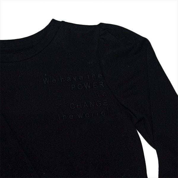 sweatshirt med pufærmer og statement
