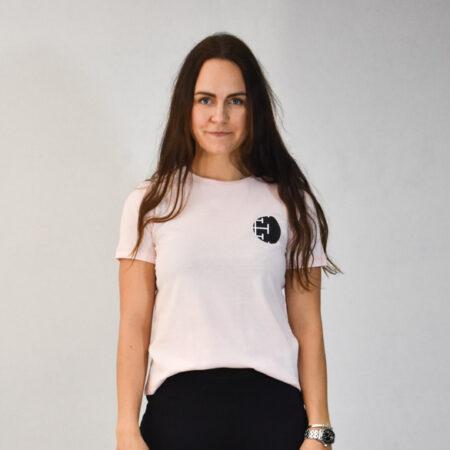 T-shirt i bomuld i pastelpink med grafisk print på brystet