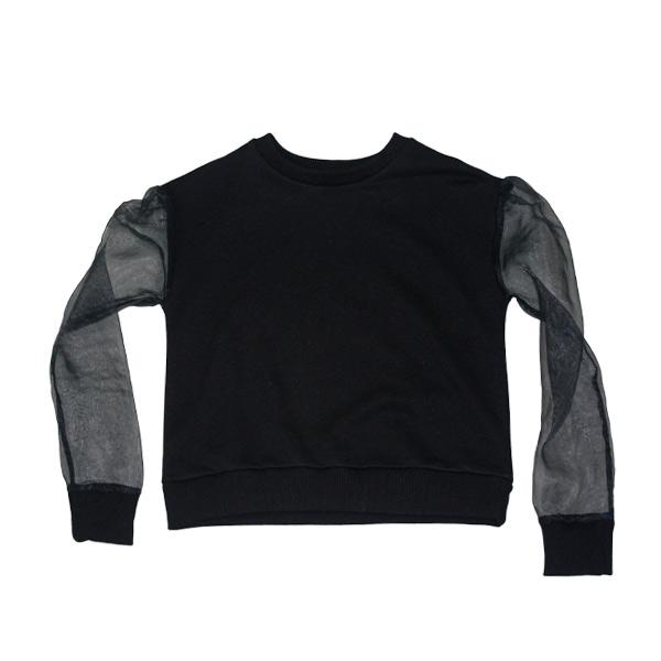 organza sweatshirt - trendy feminin sweatshirt i sort