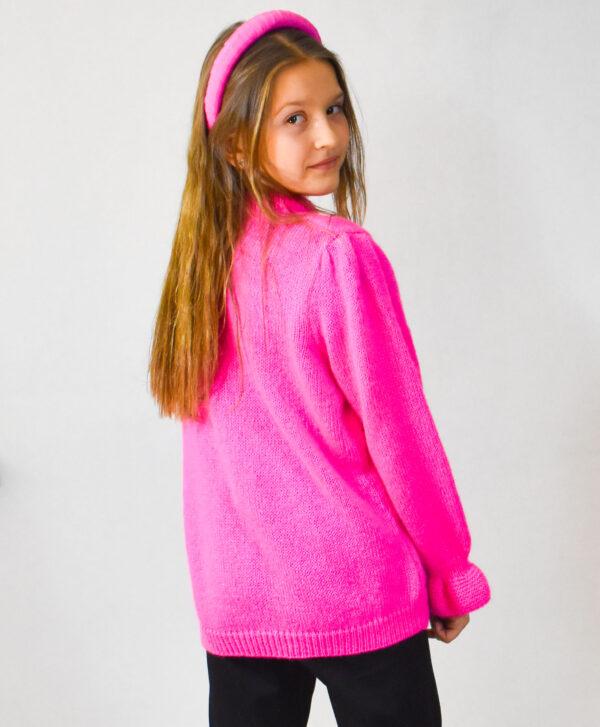 Neonpink lækker striktrøje i mohair med pufærmer til børn