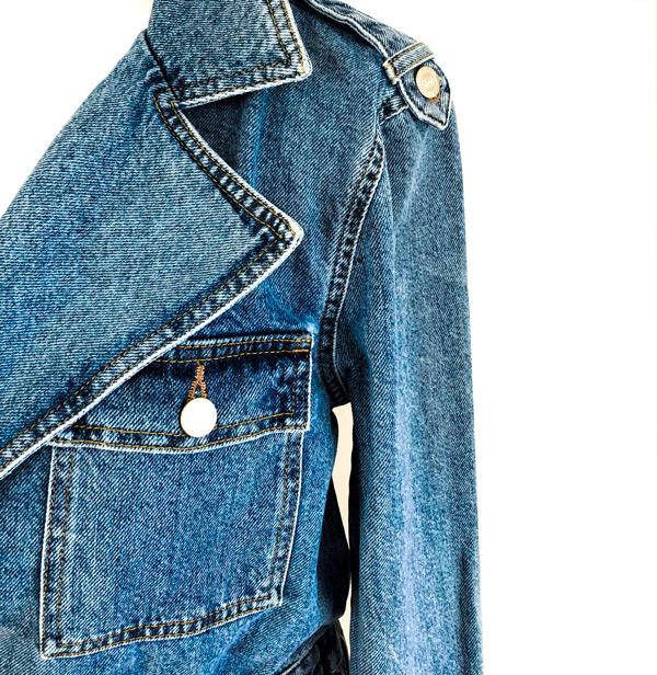 Eksklusiv trendy stonewashed blå denim jumpsuit/kedeldragt