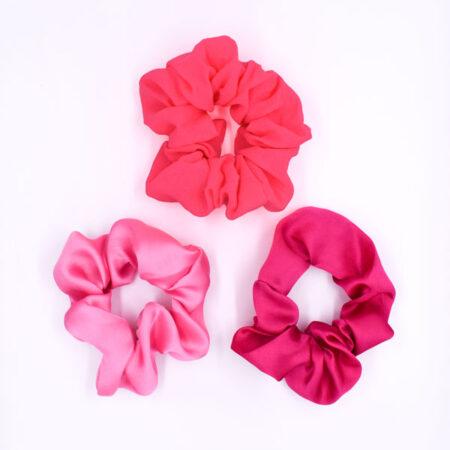 neon hårelastikker scrunchies pink neon stofelastik