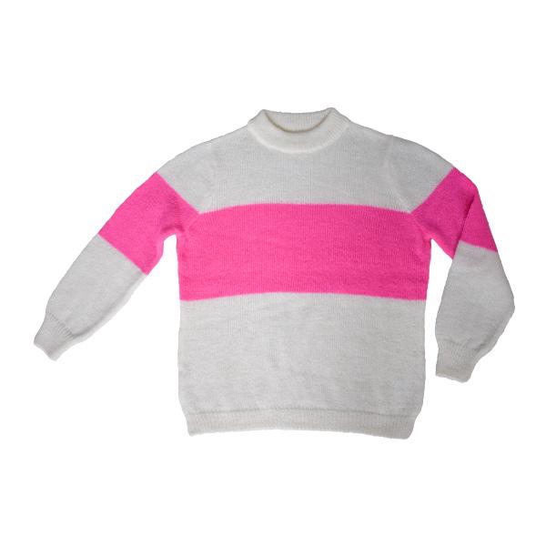 striktrøje med striber - hvid og neon pink