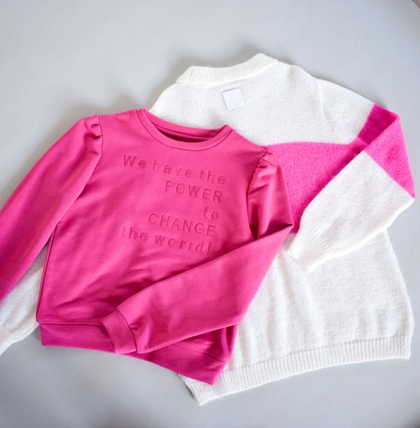Pink sweatshirt i bomuld med pufærmer og statement til tweenpiger