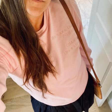 Sweatshirt med pufærmer i pastelpink
