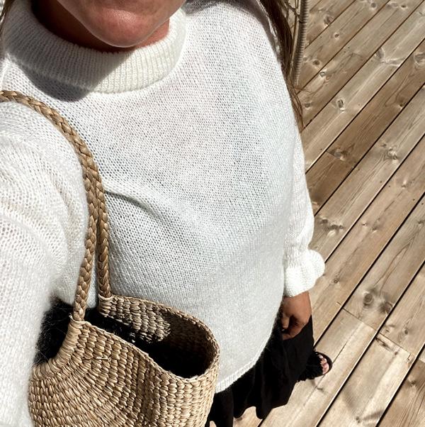 Off White lækker striktrøje i mohair med pufærmer